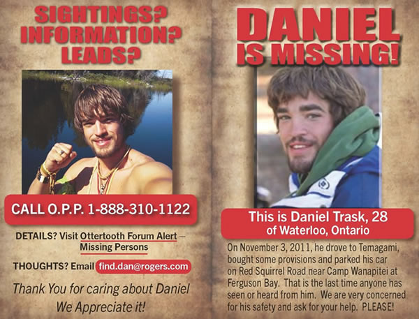 Daniel Trasks Home Page – Missing Persons Poster
