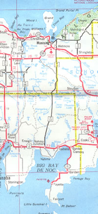 Central U.P. driving map